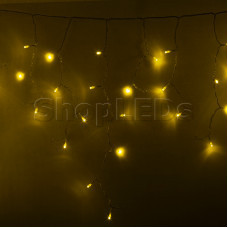 Гирлянда Айсикл (бахрома) светодиодный, 4,8 х 0,6 м, прозрачный провод, 220В, диоды желтые, NEON-NIGHT