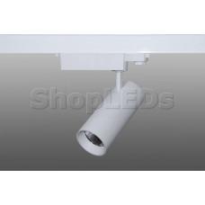 Трековый светодиодный светильник DT-193 (30W, 6000K, трехфазный, белый корпус)